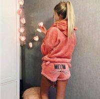 2019Women 잠옷 MEOW 고양이 수면 바지 여성 속옷 잠옷 세트 탑 반바지 파자마가 설정 풀오버 후드 긴 소매 탑스 인쇄하기