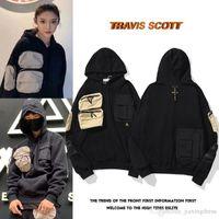 새로운 20ss Travis Scott TS Co 브랜드 선인장 잭, 남성과 여성용 선인장 수 놓은 마이크로 라벨 멀티 포켓 스웨터 망 디자이너 후드
