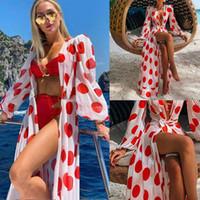 Kadınlar Plaj Elbise Puantiyeli Baskı Maxi Seksi V Boyun Elbiseler Bayanlar Boho Uzun Kollu Elbise Yaz Bikini Kapak Up Günlük Elbiseler 050811