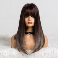 qualityOmbre Blond clair perruques avec Bangs Lisse Moyen Perruques synthétiques pour les femmes afro-américaine chaleur cosplay résistant perruque