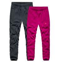 Осень Зима Походные брюки Мужчины Женщины Толстый теплый ветрозащитный руно брюки Открытый кемпинга Альпинизм Рыбалка Tie ножные Спортивные брюки