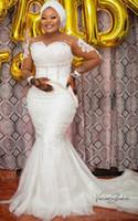 2020 플러스 사이즈 아랍어 아소 새우 레이스 페르시 인어 웨딩 드레스 쉬어 목 신부 드레스 긴 소매 웨딩 드레스 ZJ044