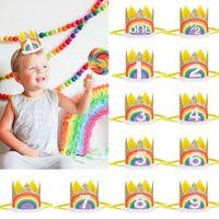 La fiesta de cumpleaños del bebé venda del pelo del arco iris de las lentejuelas Corona diadema 1 Años -9 Años de Edad Decoración Fotografía Sombrero