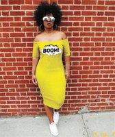 Günlük Elbiseler Vestidoes Giyim Kadın BOOM Tasarımcı Sarı Elbise Yaz Slash Boyun Uzun