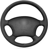 ديي الأسود الجلد المدبوغ السيارات صالح مخصص يغطي عجلة القيادة لسيارات لكزس GX470 2003-2009 / 1998-2007 LX470 / LX450 1996 1997 زينة الداخلية
