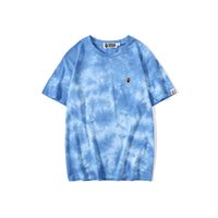 Atacado New Verão Adolescente Tie-dye Impresso Casual Crew Neck T-shirt Casual Black White Hip Hop do amante T-shirt
