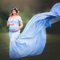 Длинный хвост Фото Стреляйте Родильные фотографии реквизит Макси платье для беременной Одежды Беременности платья