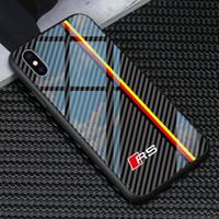 TPU + Verre trempé de voitures de course Verre RS Étuis téléphonique pour Apple iPhone 12 Mini 11 Pro Max 6 6S 7 8 Plus X XR XS MAM SE2 Samsung S8 S9 S10 E S20 S21 ULTRA NOTE 9 Couverture