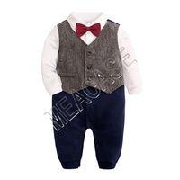 Småbarn Baby Boys Romper Bow Tie Gentleman Formell Klänning Jumpsuit Romper In Brithday Toddler Kläder Tuxedos Bowtie Shirt Outfits D81204