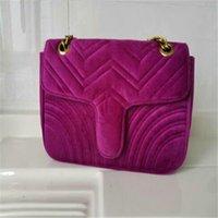 2020 5A أزياء المرأة MARMONT حقائب الكتف حقيبة المخملية حقيبة يد الشهيرة CROSSBODY الأنثى سلسلة حقيبة يد CROSSBODY سلسلة 26CM