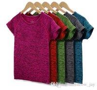 5 цветов Женщины Йога рубашка Фитнес Бег Спорт футболку, Спортзал Quick Dry Пот Дышащие Упражнения Tops с коротким рукавом