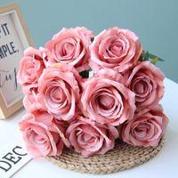 Flores decorativas guirnaldas tela de rebaño artificial ramo ramo de flores de rosa 10 cabezas casa decoración de boda DIY Arreglo floral Tabla Cente