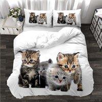 Hot Sale 3D Gedrukt Katten Beddengoed Sets 3 Stks Bed Pak Dekbedovertrek Kussensloop Home Beddengoed Benodigdheden Aanpassen