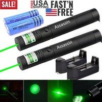 2pack Fokus 1mw 900Miles Brennen leistungsfähige grüne Laser-Feder-Zeiger 532nm sichtbare Strahl Katzenspielzeug Militärgrün Laser + 18650 + Ladegerät