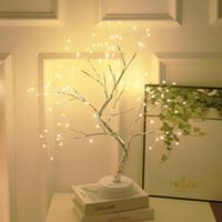 Battery Operated Albero della lampada LED luci decorative Albero Notte Luce natalizia tattile USB Desk camera da bambini bianco caldo di notte Lampada da comodino