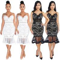 Women mesh midi dresses lace sexy & club holiday party dress sheer spaghetti strap sleeveless column sheath Fishtail skirt elegant 0008