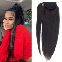 10A Grau Virgin brasileiros Humanos cabelo rabo de cavalo grossas Termina grampo no cabelo extensões Slik Hetero 120g cabelo rabo de cavalo
