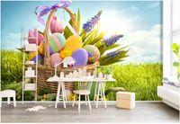 coutume murale sur le mur photo 3d fond d'écran fond oeuf herbe Cartoon fleurs mignonnes papier peint décoration dans le salon