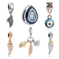 Fortunati degli occhi del diavolo ali di angelo di fascini del pendente del braccialetto dell'occhio adattando pandora perline europei la produzione di gioielli per il regalo delle donne