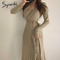 Günlük Elbiseler Syiwidii Elbise Kadın Kış V Boyun Zarif Kemer Ile Yüksek Bel Uzun Örgü Pileli Bir Çizgi Siyah Bej Katı İmparatorluğu Giysi