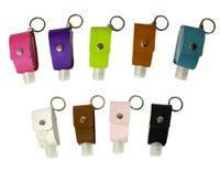 Désinfecter Désinfectant pour les mains Porte Keychain en cuir Bouteille Voyage contenants réutilisables bouteilles réutilisables avec porte-clés Porte