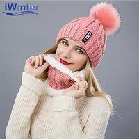 Beanies Iwinter Kış kadın şapka Eşarp Set Kalınlaşma Ponponlar Kadınlar Kızlar Için Sıcak Yüzük Şapkalar