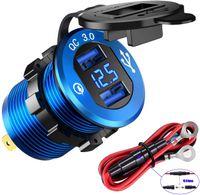 Charge rapide 3.0 double USB Chargeur Prise, charge rapide prise d'alimentation étanche avec fil LED Voltmètre fusible DIY Kit 12V / 24V Voiture Bateau Ma
