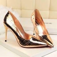 2021 여성 하이힐 섹시한 결혼식 파티 매체 뒤꿈치 뾰족한 발가락 얕은 입 하이힐 여성 신발 큰 크기 33-43