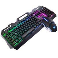 Keyboard Mouse Combos para la computadora portátil Durable Gaming Set LED Retroiluminación Juego de computadora USB Cableado de computadora Desktop Portable Universal Mecánico PC