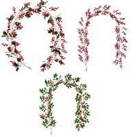 عيد الميلاد الديكور فاينز الأحمر الحب البازلاء الخضراء ورقة 190CM النباتات الاصطناعية فاينز عيد ميلاد سعيد القش الديكور