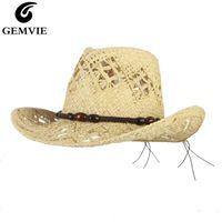 GEMVIE Hollow Cowgirl Summer Hat For Women Raffia Straw Hat For Men Outback Western Cowboy Sun Beach Cap