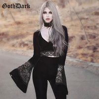 المرأة t-shirt القوطي الظلام مثير خمر الجمالية gothic للنساء المتناثرة مضيئة كم سقوط 2021 هالوين شيرت اقتصاص شبكة