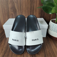 París tirón deslizadores para mujer para hombre verano sandalias zapatillas de playa de las señoras de los fracasos de los holgazanes Negro Blanco Rosa Diapositivas Zapatos Blanco Negro Calzado