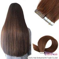 # 4 fita no cabelo humano extensões de PU pele trama Grosso Natural Remy brasileira retas escuro Cabelo castanho invisíveis 20pcs Em Adesivos