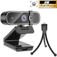라이브 브로드 캐스트 비디오를위한 마이크 회전 가능한 카메라와 2K 웹캠 미니 컴퓨터 PC 웹 카메라는 회의와 스탠드를 호출