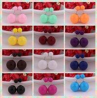 Ny Mode Kvinnor Punkt Örhängen Dubbelsidan Lysande Akrylpärla (8mm 16mm) Stud Örhängen Stora Pearl Örhängen 11 Färgval