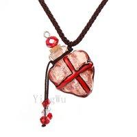 Yingwu Herz Corss Murano Glas Öl Asche Urne Flaschenkorken Anhänger Fläschchen Halskette Adjustable