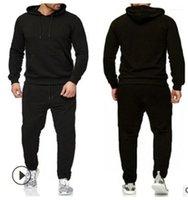 Vêtements de sport Hommes Set Vêtements Automne Printemps Deux Pièces costume col capuche pantalon long Homme Survêtement Solide Couleur