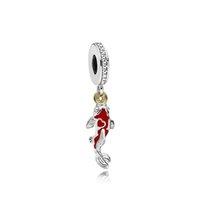 fascini del pendente carpe rosse adattando braccialetto pandora originale per la catena di 3 millimetri di serpente fortunato pesce Fai da te Bead creazione di gioielli per il regalo delle donne