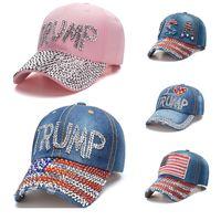Trump 2024 boné de beisebol Chapéu do partido chapéu eleitoral campanha cowboy tampões ajustáveis snapback mulheres denim diamante chapéus