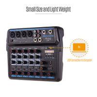 Freeshipping U6 Musical Mini Mixer 6 Kanäle Audio-Mixer BT USB Mischpult mit Soundkarte Built-in 48V Phantomspeisung EU-Stecker