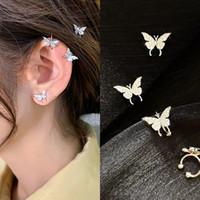 Corea estilo lujo zircon mariposa oreja puño 2020 nuevas mujeres lindas niña pendientes mariposa oreja clip oreja joyería hembra