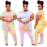 Plus Size XL-4XL Tie Dye Imprimir feminina conjunto T-shirt empilhados Pants Suit Treino Two Piece Set aptidão Outfit