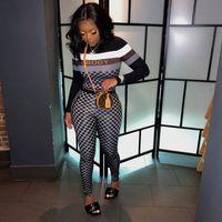Hirigin Moda Güz Ekose 2 Parça Setleri Bayan Kıyafetleri Uzun Kollu Mahsul Tops + Pantolon Kadınlar Için Eşleştirme Setleri Giysileri Streetwear