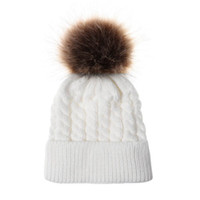 Fashion Kids Twisted Knit Solid Colors Beanies With Pom- pom ...
