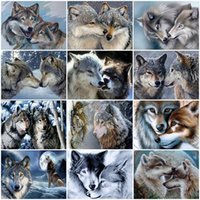 Evershine 5D DIY Diamond Painting Wolf Cross Stitch Kit Diamond Bordery Animal Full Square Round Mosaic Art Decor Regalo