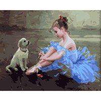 Безрамная Маленькая девочка и собака Краска Номера DIY масляной живописи для детей начинающих 16x20 дюйма
