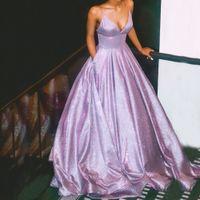 Glänzend lila Abschlussballkleid Lange Glitter A-line Schöne Party Kleid Mädchen Funkeln Elegante Riemen Backless Abendkleid Tasche