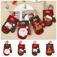 Couverts de Noël fourchette cuillère Sacs Vaisselle Porte Gants de couverture de Noël Art de la table à manger Décor de Noël Décorations RRA3527