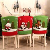 Covers de Natal do boneco de neve dos desenhos animados Chair Set Cadeira Moda para Hotel Restaurant festivo da festa Decorações de Natal 3 estilos